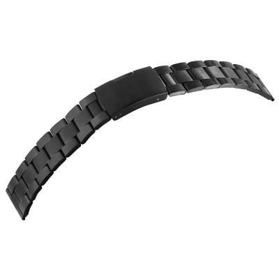 Bratara ceas, otel inoxidabil, neagra, 20 mm, 90-200